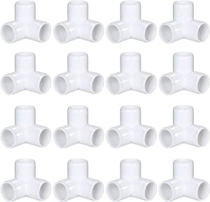 16 Pack PVC Elbow Fittings, 3/4 Inch 3 way PVC pipe Fitting connectors, PVC pipe Tee Corner Fitting- Build Heavy Duty Furniture,3 way PVC pipe Joint
