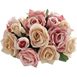 Outtop 9 Heads 10.6 Inch Rose Artificial Flowers Bouquets Real Touch Fake Flower for Decoration (Pink)