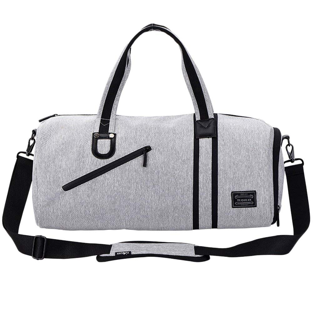 LYCSIX66 Small Sports Gym Bag Canvas Men s Travel Duffle Bag Overnight Carry On Luggage with Shoe Compartment and Wet Pocket, gray