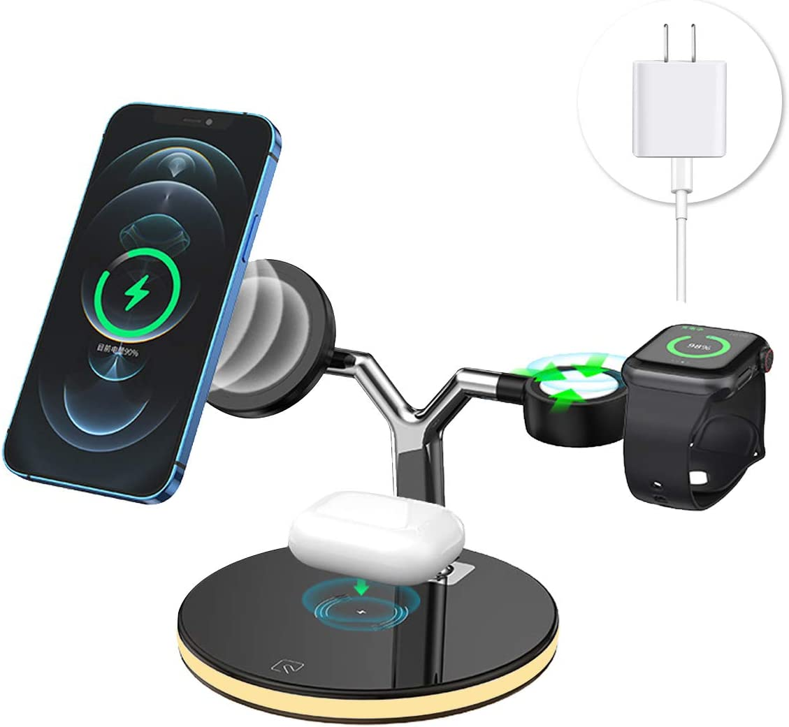 3 in 1 Magnetic Wireless Charging Station Compatible with MagSafe Fast Wireless Charger Stand with QC3.0 Adapter 18W for Apple iPhone 12 Series Charger iPhone Watch Airpods Night Light Design