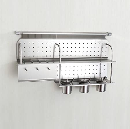 Wall Mounted Single Tier Stainless Steel Spice Rack With 3 Stainless