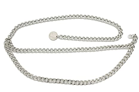 Women Silver Metal Thick Chain Link Quarter Coin Charm Buckle Belt Size XS S M