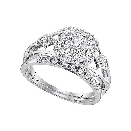 10 kt oro blanco para mujer redondo diamante cuadrado para anillo de compromiso de boda banda