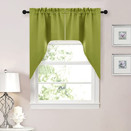 Wonderful NICETOWN Blackout Kitchen Tier Curtains  Tailored Scalloped Valance/Swags  For Living Room (Double