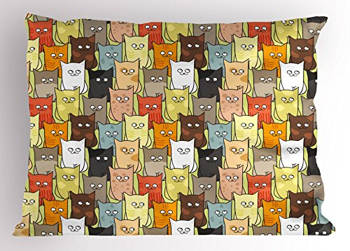 Ambesonne Cats Pillow Sham, Funny Cute Colorful Graphic Kittens Cartoon Style Boys Girls Kids Playroom Nursery, Decorative Standard Queen Size Printed Pillowcase, 30 X 20 Inches, Multicolor