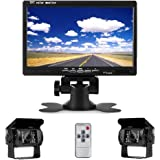 "Camecho DC 12V 24V Vehicle Backup Camera System 2 x Rear View Camera Support Night Vision Waterpoof & 7"" Monitor with…"