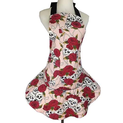 Para mujer rosa de calavera de flores delantal, diseño de lona de ...