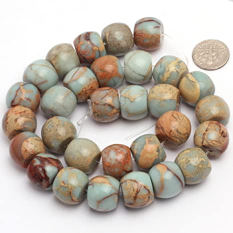"1X Round Matte ShouShan Jasper Stone Spacer Loose Bead for Jewelry Making 15/""DIY"