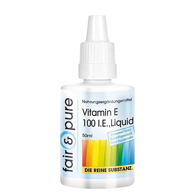 Vitamina E líquida (100 I.E.) - Sustancia pura sin aditivos - 50 ml: Amazon.es: Salud y cuidado personal