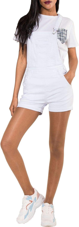 EGOMAXX Damen Latz Shorts Kurze Latzhose Jeans Hot Pants