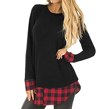 Clearance!Youngh Womens Sweatshirt Plus Size Plaid Patchwork Loose Long Sleeve cotton Casual Blouse T