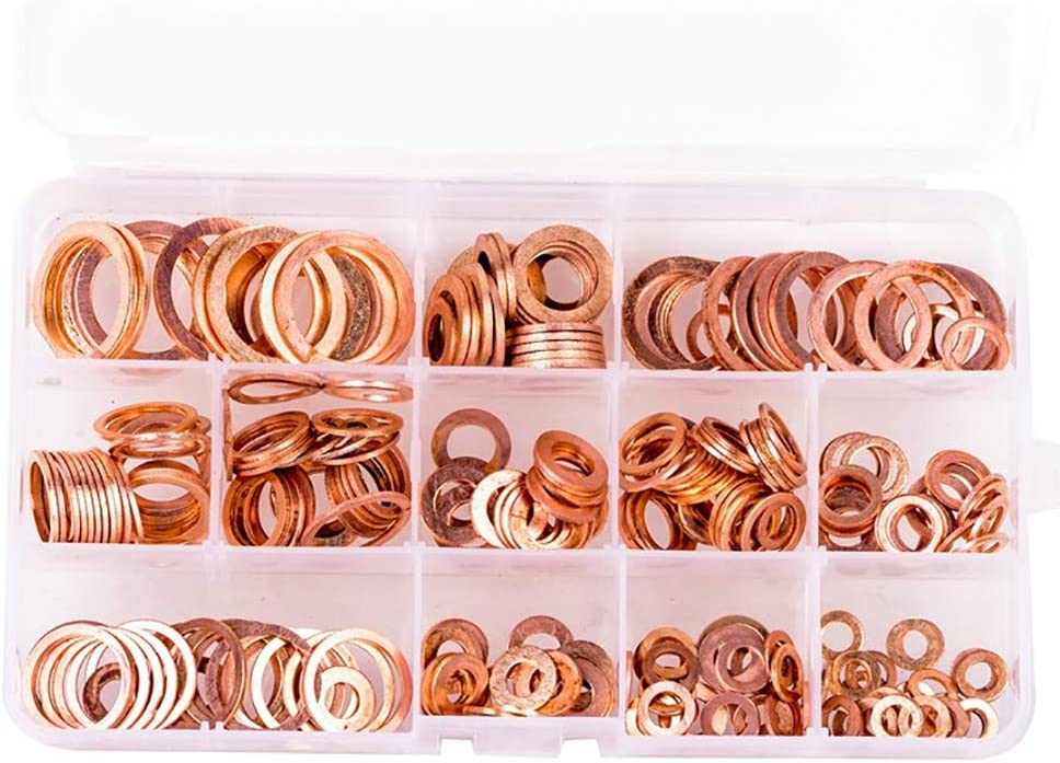 1 Box for Maintenance Copper-Colored Flat Washer Kit 10 Sizes 200Pcs Copper Washer Boxed Flat Ring Washer Manual