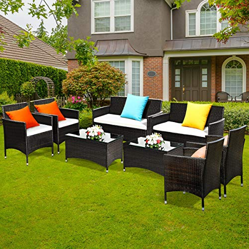 Tangkula 8PC Rattan Patio Furniture Set,Outdoor Sofa Table Set with Cushion, Outdoor Indoor Use Garden Lawn Balcony Backyard Patio Furniture Set, Wicker Set with Tempered Glass Coffee Table, Brown (2)