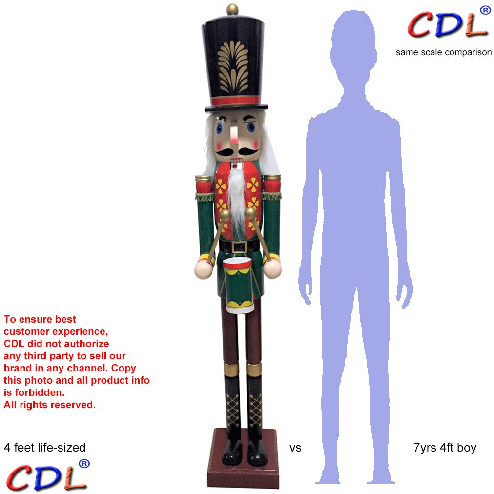 CDL 48''4ft tall life-size large/giant Christmas wooden nutcracker soldier Drummer ornament on stand play drum for indoor outdoor Xmas/event/ceremonies/commercial decoration (green soldier k37) by ECOM-CDL