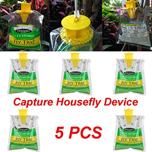 Fheaven (TM) Fly Catcher Bag,Non-Toxic Fly Trap Indoor Outdoor Disposable Fly Catcher Control Trap with Attractant Insecticide Free (5PCS)