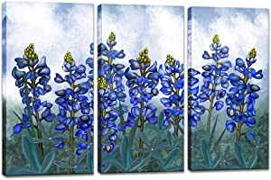 Visual Art Decor 3 Pieces Blue Flowers Paiting Canvas Wall Art Texas Bluebonnets Floral Close Up Picture Prints Gallery Wrapped Art for Modern Home Office Living Room Bedroom Decoration