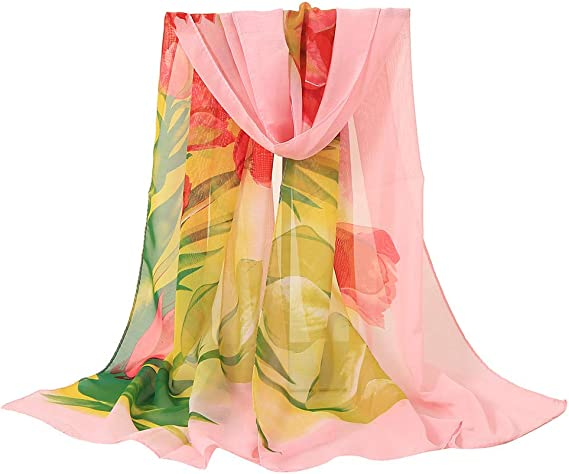 UONQD Women Multi-color Peacock Flower Scarf Soft Wrap Shawl Stole Pashmina