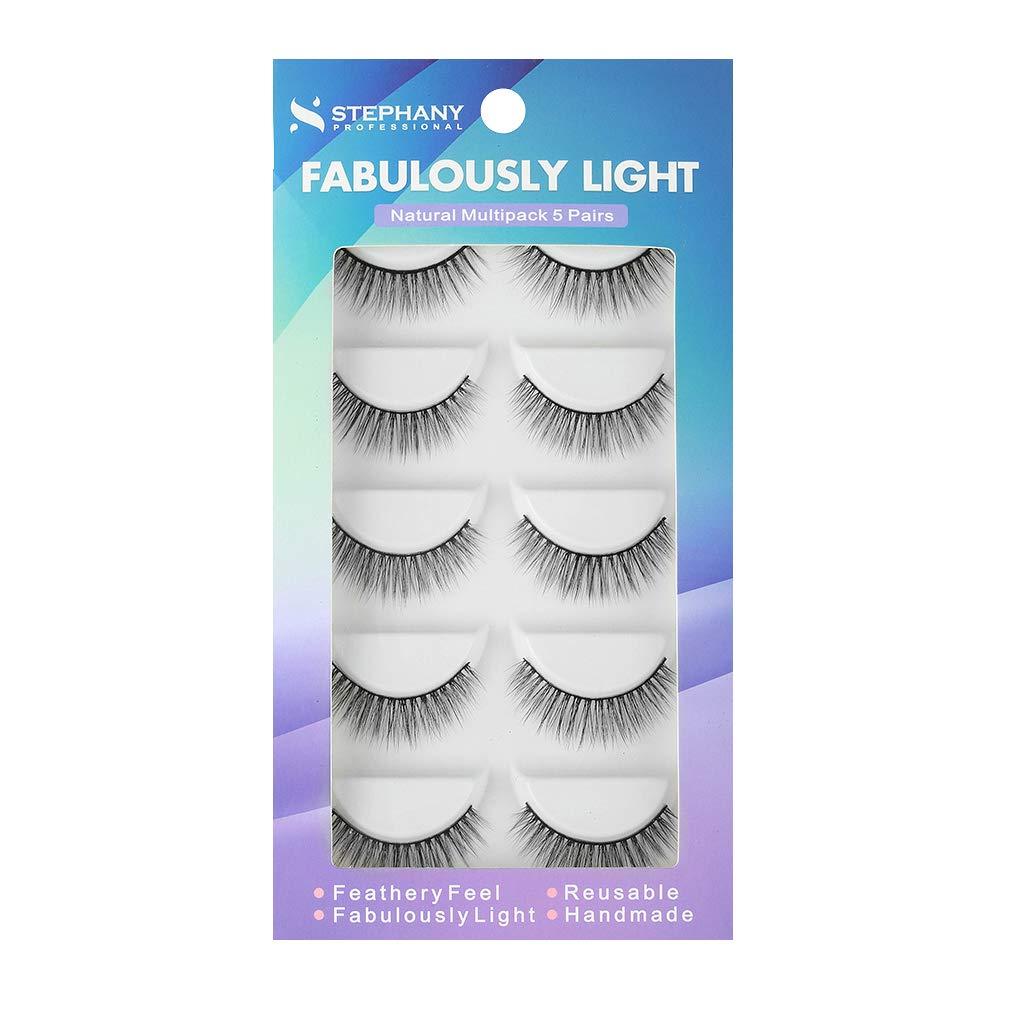 988ffce0c6d Stephany Natural Multipack 5 Pairs False Eyelashes, Easy to Apply Fake  Eyelashes, Reusable Light