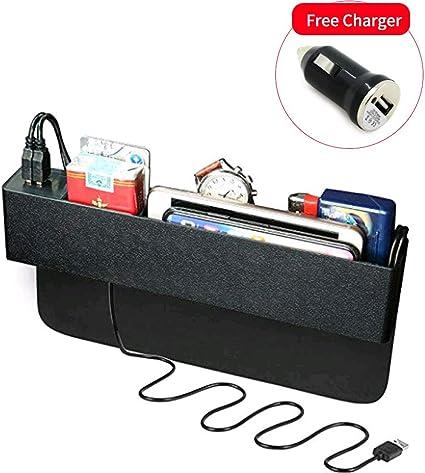 Noir Bo/îte de rangement lat/érale pour si/ège de voiture organisateur despacement pour voiture,organisateur de poche pour voiture et station de chargement USB pour t/él/éphones mobiles,cl/és cartes