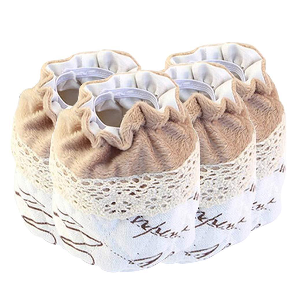 Juego De 4 Patas De Silla De Poli/éster Tricotadas Puntas Cubre Calcetines Para Muebles Caqui
