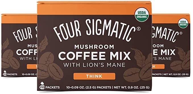 Four Sigmatic Mushroom Mix Coffee Lion's Mane | Think | Pack of 3 (30 Packets Total)