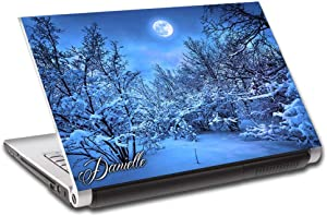 """Snowy Forest Full Moon Personalized LAPTOP Skin Cover Decal Vinyl Sticker L798, 15.6"""""""