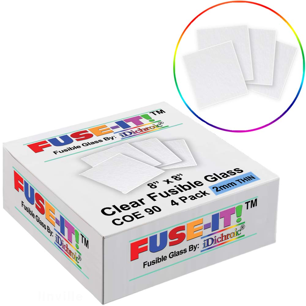 8 inch Thin (2mm) Clear Fusible Glass Squares COE 90-4 Pack