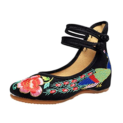 Zhhlaixing Vintage Chinese Style Women Embroidered Shoes Comfortable Non-Slip Shoes aLowW