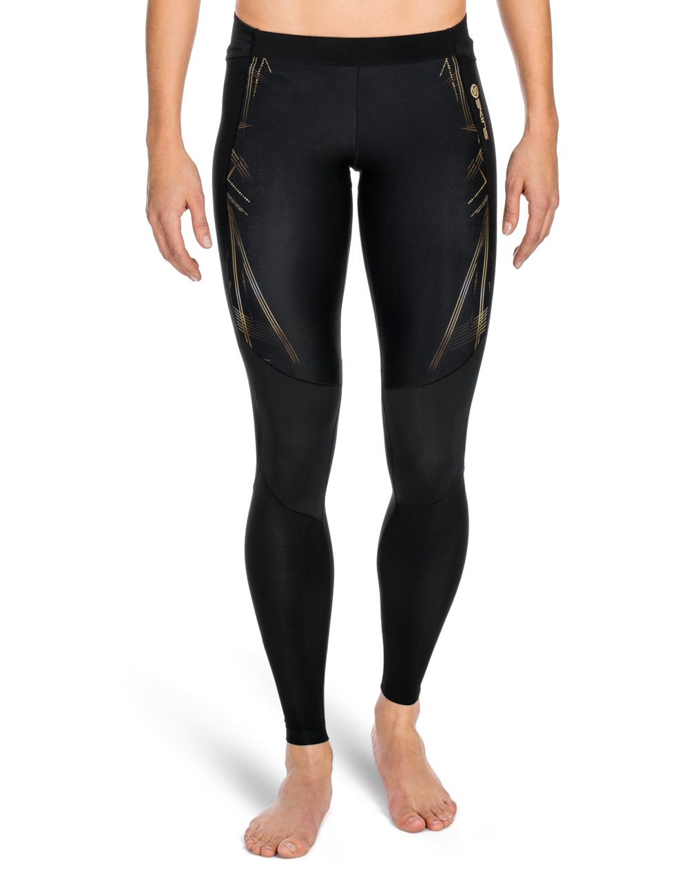 Skins Women's A400 Compression Long Tights, Black/Gold, Large
