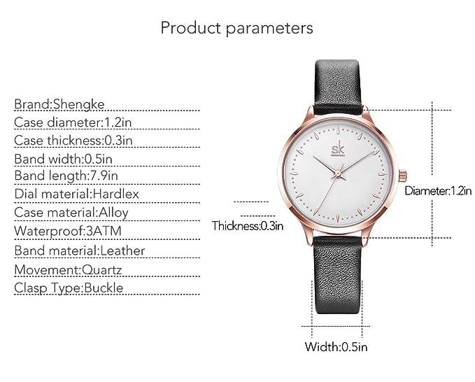 Amazon.com: SK SHENGKE Casual Leather Watches Women Simple Clock Rose Gold Case Female Quartz Watch Montre Femme (K8033-Black): Watches