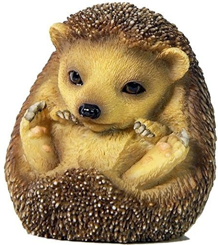 2.38 Inch Baby Hedgehog Sitting Up and Looking Figurine, Brown Color