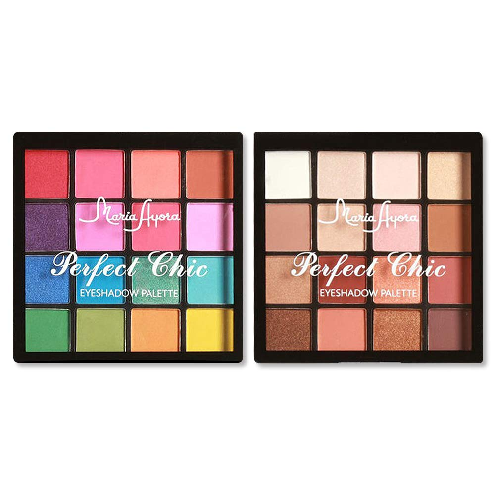2pcs Professional Eyeshadow Palette Makeup Set(Warm Neutrals +Brights) - 16 Colors Ultimate Highly Pigmented Eye Shadow Cosmetics Pallet, 2 Count
