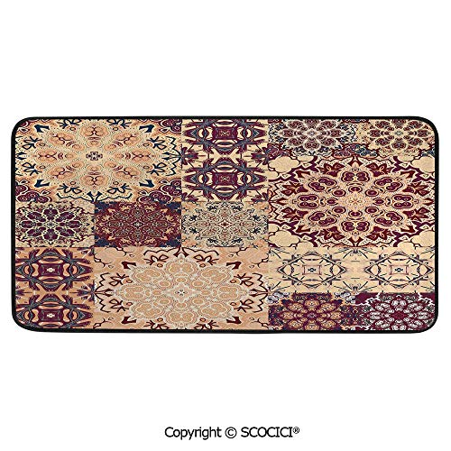 Soft Long Rug Rectangular Area mat for Bedroom Baby Room Decor Round Playhouse Carpet,Vintage,Antique Traditional Ceramic Tiles Ornate Moroccan - Antique Upholstery Traditional