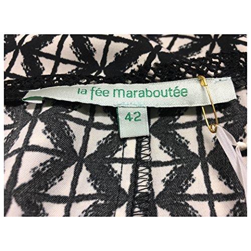 LA FEE MARABOUTEE abito donna nero/ecru 100%poliestere W7018 MADE IN ITALY IT 46