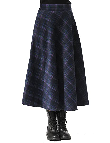 eeca121a88f21 TEERFU Women s Fall Winter Plaid Pleated Warm Thicken Wool Woolen Long  Skirt Skirts