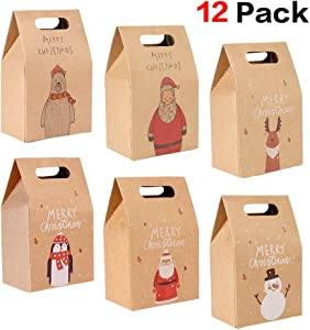Christmas Cookies and Candy Boxes (12Pack),Konait Kraft Paper Christmas Gift Boxes Treat Boxes Goody Boxes Xmas Favor Bags for Christmas Presents Little Toys Christmas Party Favor Supplies Decorations