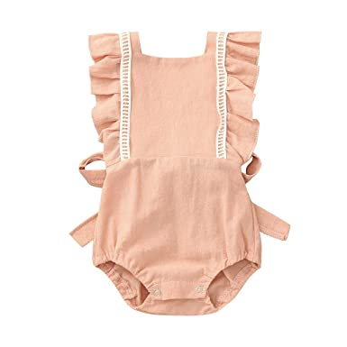 YEBIRAL Ropa Bebé Niña Verano Bebé Mono con Volantes Escotado por ...