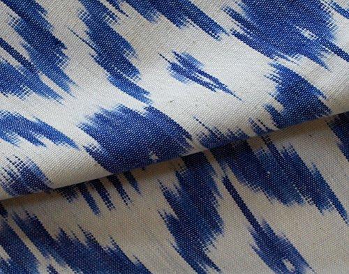 Hand-Woven, Ikat, Drapery Fabric. Artisan, Blue, India, Andhra Cotton 44