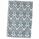 3D Rose Elegant Steel Blue Damask Pattern Hand Towel, 15'' x 22'', Multicolor