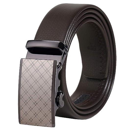 e05ccc036ab4 FR-AP Ceinture homme, ceinture à cliquet automatique en cuir à la mode  amovible, pantalon de costume noir marron ceinture 35 mm large boucle  métallique de ...