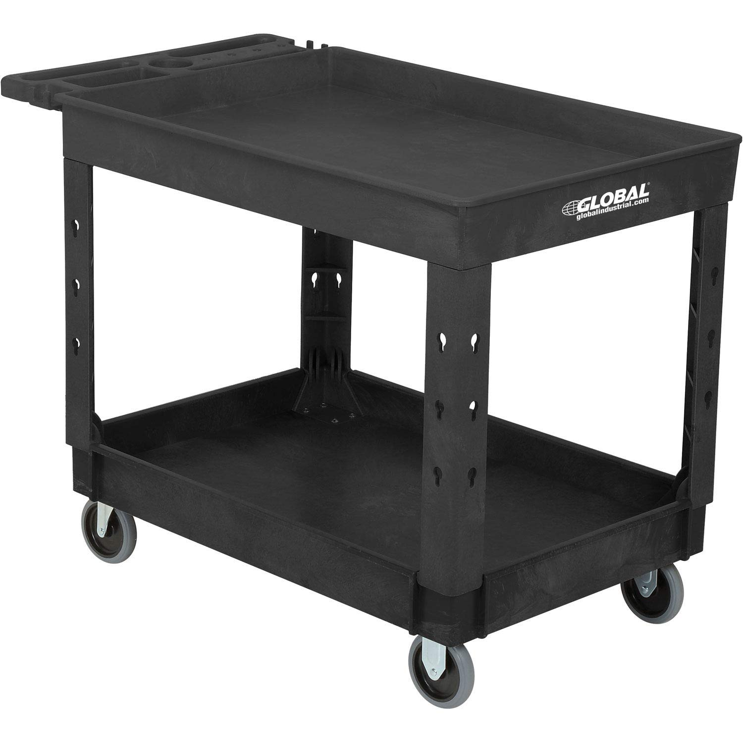 Industrial Service Utility Cart, Plastic 2 Tray Black Shelf, 44 x 25-1 2 , 5 Rubber Casters