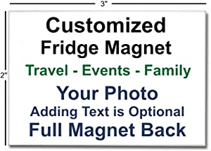 "Customized Refrigerator Fridge Magnet, 2"" x 3"" Personalized Travel Gift, Event, Photo Magnet Souvenir, Landscape"