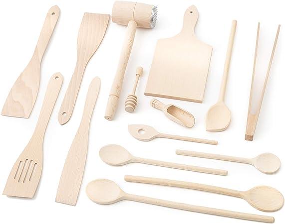 Tuuli Kitchen Küchenhelfer Set Holz Buche (6X Kochlöffel, 4X Pfannenwender, Honiglöffel, Grillzange, Schneidebrett, Fleischhammer, Gewürzlöffel)