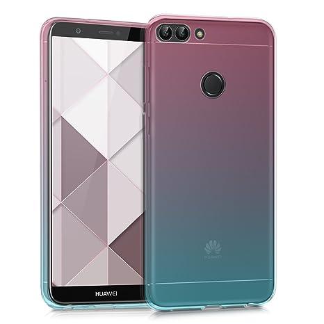 kwmobile Funda para Huawei Enjoy 7S / P Smart - Carcasa para móvil de TPU con diseño Bicolor - Rosa Fucsia/Azul/Transparente