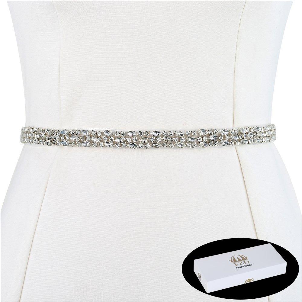 FANGZHIDI 1 Yard Thin Stunning Rhinestone Trims Belt Crystal Chain  Embellishment Wedding Sash Belts Appliques Hot Fix Rhinestones for Wedding  Dress Evening ... 24f36451e87f