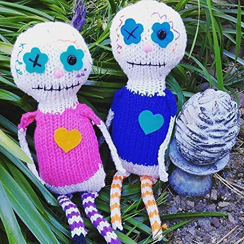 Knit your own Day of the Dead doll Kit DIY with pattern and knitting needles, yarn, felt, eyes, etc! Great different knitter gift, choose Rosa or -