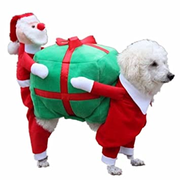 Christmas Fancy Dress Funny.Yizyif Pet Dogs Cats Christmas Fancy Party Costume Funny Carrying Gift Box Santa Claus Cosplay Fancy Dress Apparel Red Green Small
