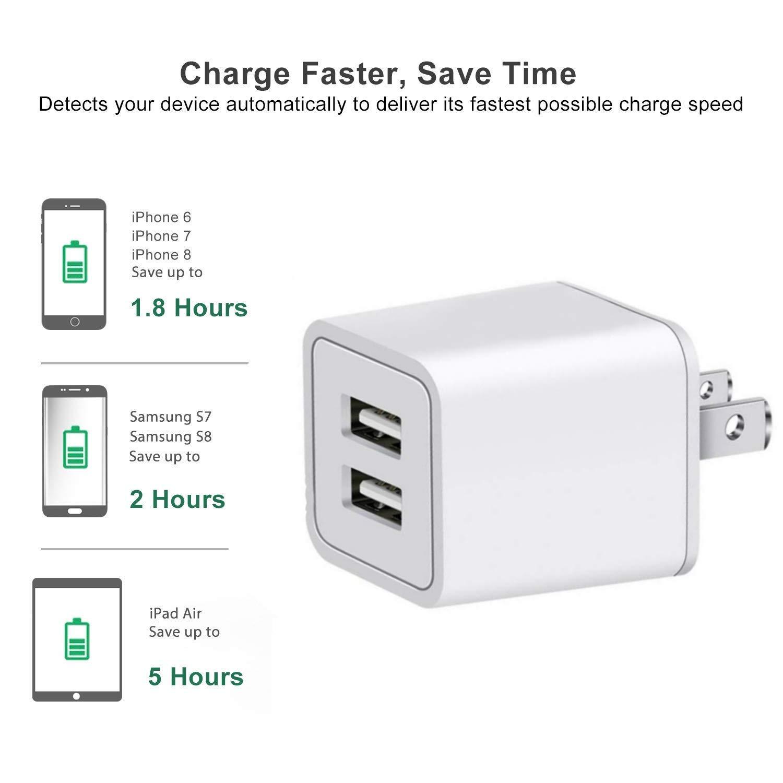 Amazon.com: Cargador USB, 12 W USB adaptador de alimentación ...
