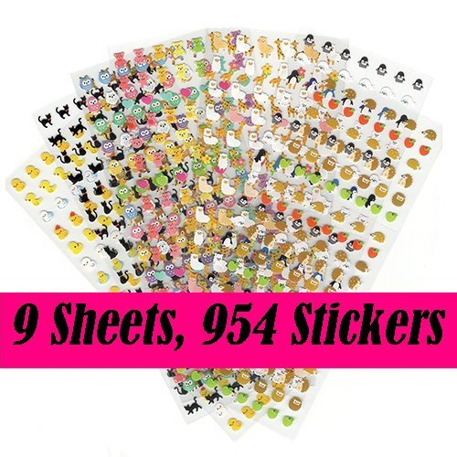 Random 9 Pieces Best Value Choice of Colorful Cute Animal Calendar Reminder Stickers (Total 954pcs) - Cat, Deer, Bear, Penguin, Hedgehog, Chicken, ()