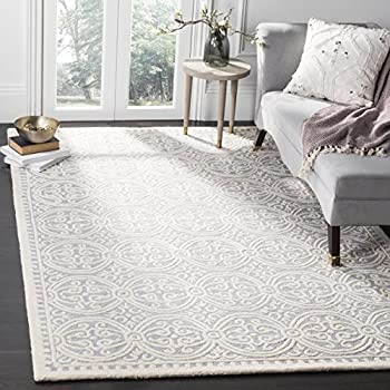 Safavieh Cambridge Collection CAM123D Handcrafted Moroccan Geometric Silver  And Ivory Premium Wool Area Rug (8